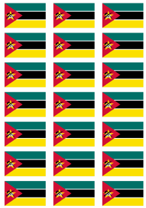 Mozambique Flag Stickers - 21 per sheet
